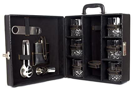 Black Butterfly Wooden Matt Briefcase Bar Set