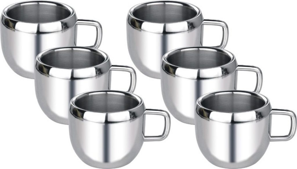 Everbuy ™ Set of 9 Double Wall Stainless Steel Tea and Coffee Cups