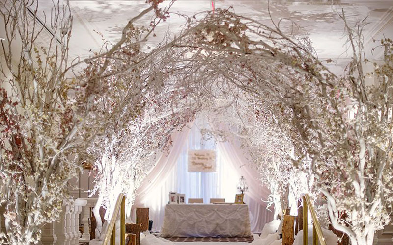 Decorating branches and trees for wedding reception