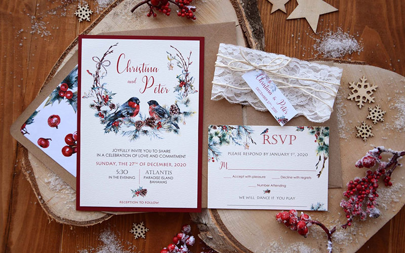 wintery wedding invitations for guests