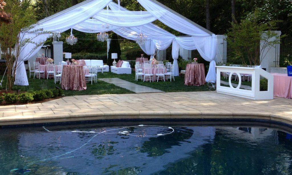 A romantic pool wedding