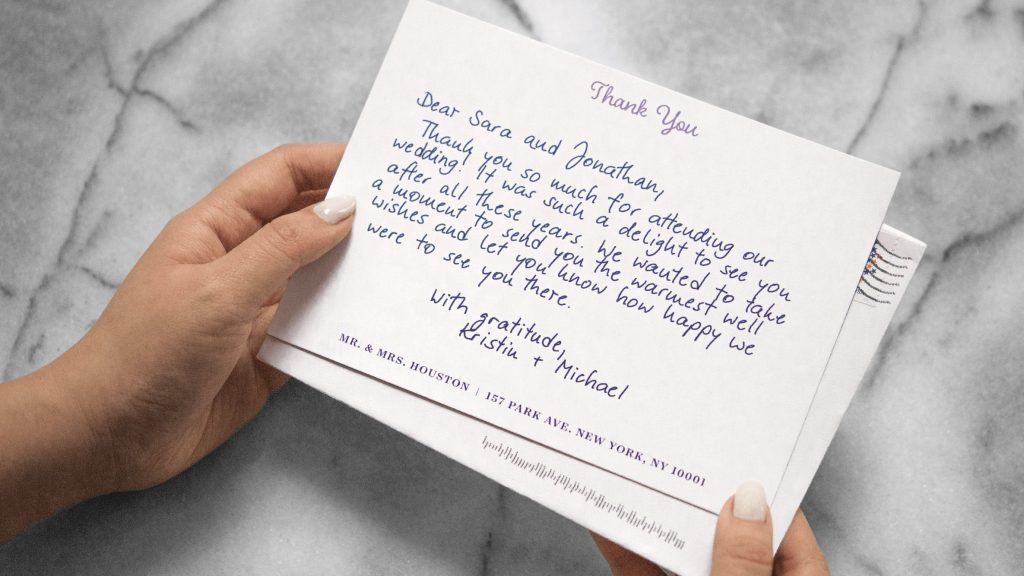 Send your guests thank you note