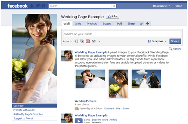 Make your wedding official on Facebook handle.