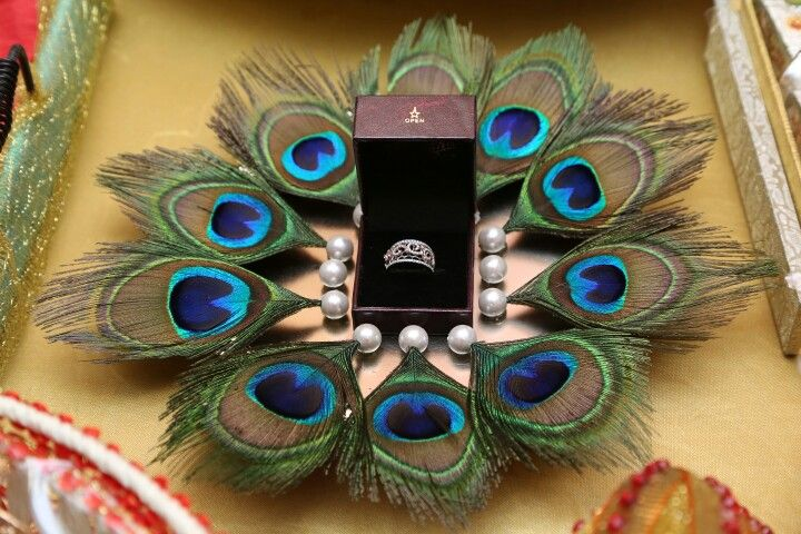 Wedding tray with peacock feather