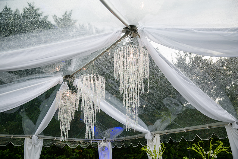 Silver Chandeliers Wedding Tent