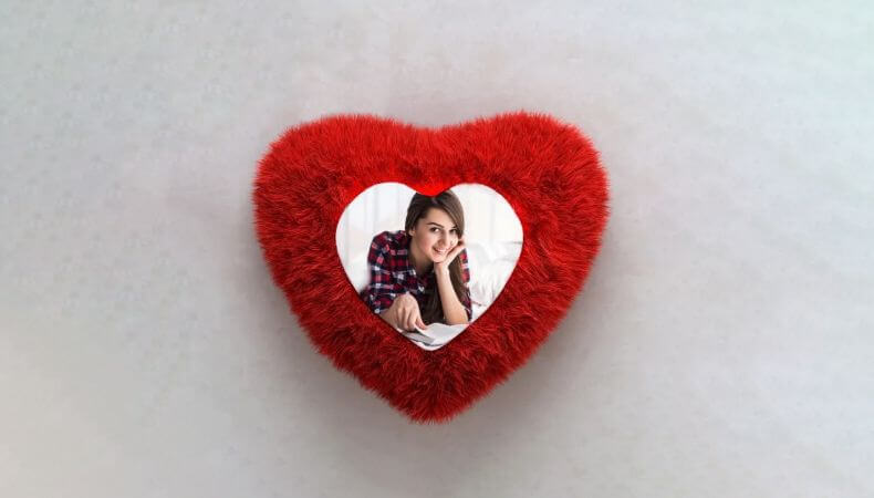 Personalized Red Heart Shape Fur Pillow