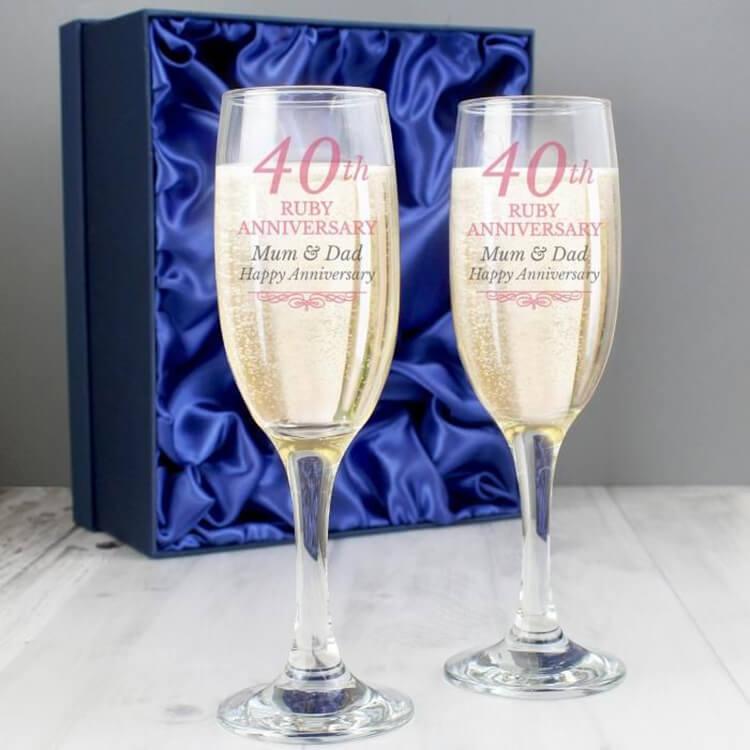 40 Years Happy Anniversary Wine Glass