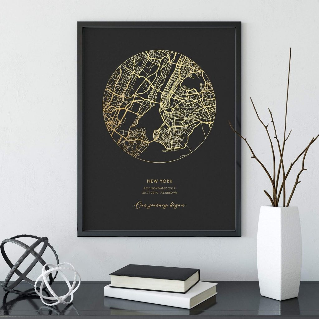 Personalized Gold Foil Map Print