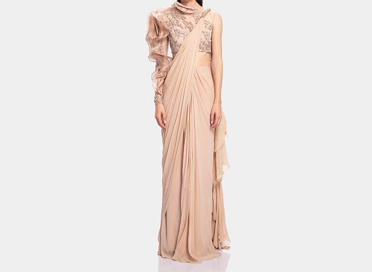 Embroidered Saree Gown