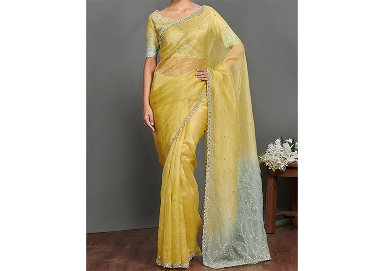 Exude Simplicity with Floral Embroidered Saree
