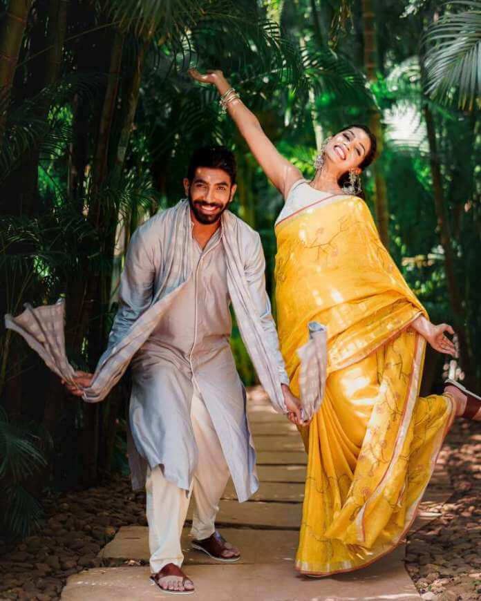 Jasprit-Bumrah-in-Antar-Agni-I-Sanjana-Ganesan-in-Anavila-Both-wearing-Aprajita-Toor-footwear