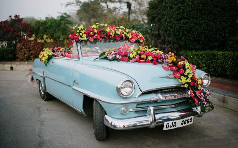 Colorful Floral Decor on car decoration
