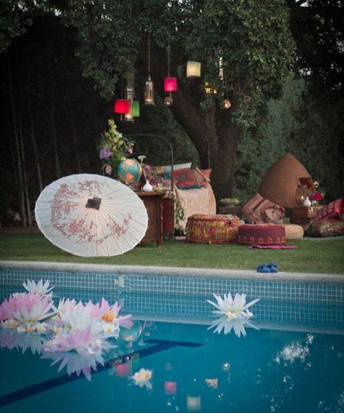 A bohemian poolside wedding