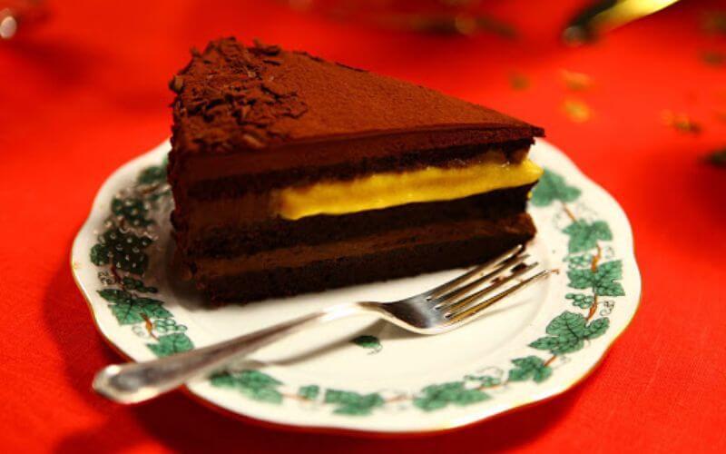 Chocolate Amaro Cake with Passion Fruit