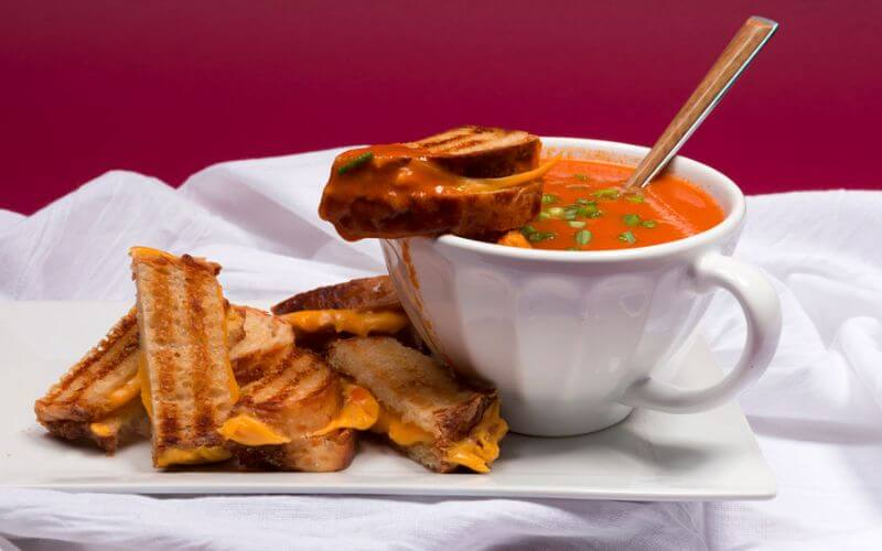 Mini Grilled Cheese Sandwiches with Tomato Soup