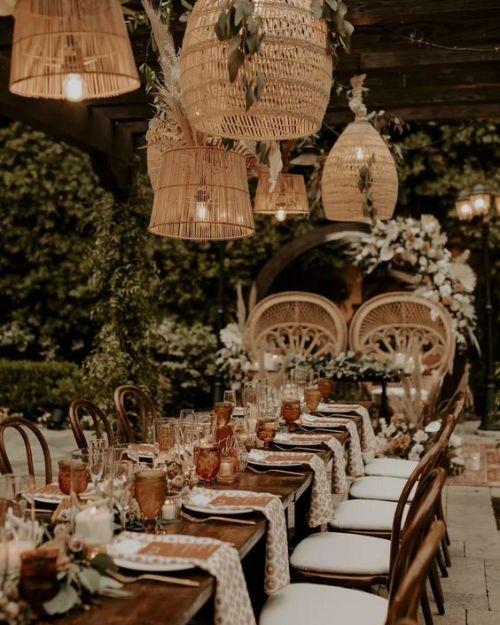 Wedding reception in a bohemian garden