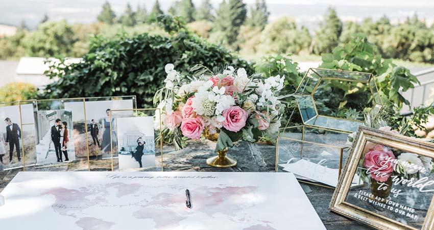 Welcome Table Flower Arrangements