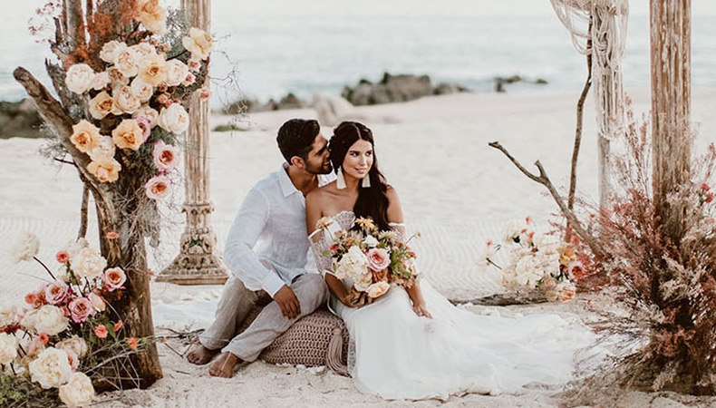 bride holding flower romance with groom