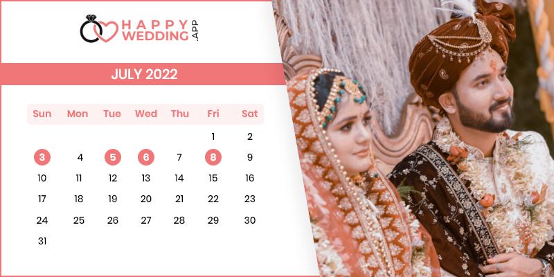 Best Wedding Dates in July 2022